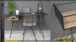 Bureau en métal et verre, style moderne rectiligne épuré, finition anthracite et bois