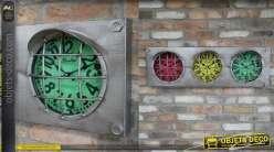 Horloge murale en métal style feu tricolore de circuit automobile, 3 cadrans colorés