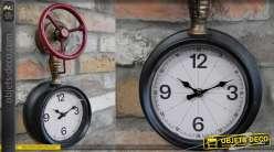 Horloge murale en métal style ancienne vanne de plomberie et nanomètre, patine effet laiton