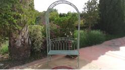 Banc de jardin sous arche en fer forgé finition vert olive ancien, 212cm de hauteur finale