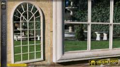 Miroir fenêtre en métal de forme arrondi style jardin d'hiver anglais, pour extérieur, 131cm