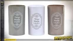 Série de 3 pots décoratifs pour salle de bain, accessoires aux couleurs douces et modernes, inscription vintage, 11cm