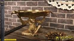Coupe à fruit/Vide poche en résine, forme de singe finition doré brillant 38cm