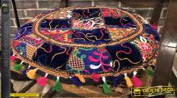 Grand coussin rond en coton épais, motifs patchwork très coloré avec franges et pompons, esprit incas, Ø55cm