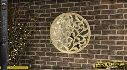 Déco en bois et miroir circulaire, effet bois sculpté finition ancienne et reflets dorés, 59cm