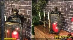 Grande lanterne rétro en métal doré et vieilli 54 cm