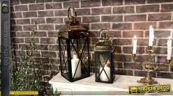 Duo de lanternes design métal noir mat et doré poli brillant 49 cm