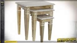 TABLE AUXILIAIRE SET 3 MANGUE 56X35X53 FLORAL