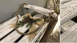 Grande luge décorative en métal et bois usé finition blanc ancien, décoration de Noël ambiance hiver, 63cm