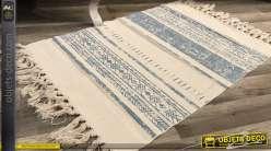Tapis en coton et polyester, bleu ciel et blanc cassé, esprit tapis Kilim 60 x 90