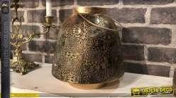 Lanterne bougeoir en métal cuivré de style oriental Ø 22 cm