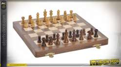 Table de jeu d'échecs en sheesham massif, pièces en bois sculpté, style élégant, 30cm