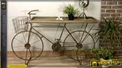 Console originale en bois et métal, forme de vélo vintage avec plateau vieilli, 130cm