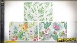 Série de trois set de table réutilisables en pvc, motifs tropicaux esprit jungle pastelle, 45cm