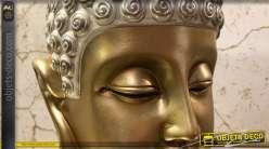 Tête de Bouddha en résine, finitions brillantes or et argent, 35cm de haut