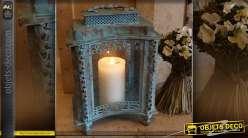 Lanterne à poser formes concaves patine bleu antique