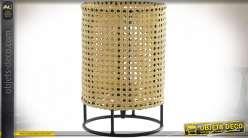 LAMPE DE TABLE MÉTAL PVC 20X20X30 CALANDRE NATUREL