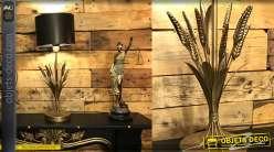 Lampe de table en métal noir mate et base en épis de blé doré, élégant et chic