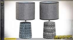 LAMPE DE TABLE GRES LIN 18X18X33 ETNICO 2 MOD.