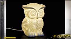 LAMPE DE TABLE PORCELAINE 13,5X15,5X20 HIBOU BLANC