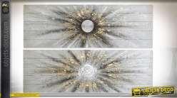 TABLEAU BOIS 150X4X50 SOLEIL PEINT LA MAIN 2 MOD.