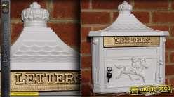 Boîte aux lettres style anglais fonte d'aluminium blanche