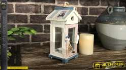 Petite lanterne bois thème plage et pêche avec filet de pêche, décoration style bord de mer,23cm