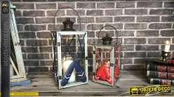 Duo de lanternes originales rouge et bleu rames de barque 53 cm