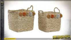 CORBEILLE SET 2 SEAGRASS 32X32X34 26000 POMPONS