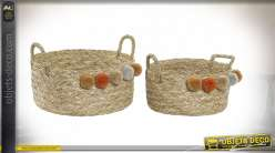 CORBEILLE SET 2 SEAGRASS 40X40X25 26000 POMPONS