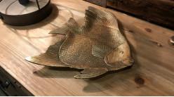 Vide poche finition doré ancien en forme de poisson, 24cm