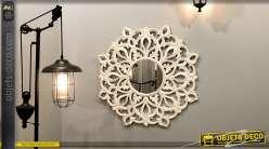 Déco murale miroir en bois esprit rosace mandala sculpté, finition blanche forme ronde
