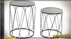 TABLE AUXILIAIRE SET 2 MÉTAL MIROIR 37X37X48 NOIR