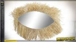 MIROIR FIBRE 50X1X35 FRANGE NATUREL MARRON