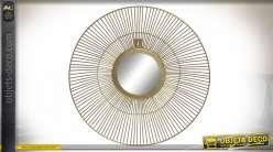 Miroir rond de style moderne en métal finition dorée, encadrement filamenté Ø40cm