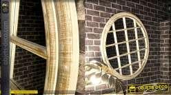 Grand miroir rond en bois blanchi, style œil de bœuf, 90cm de diamètre