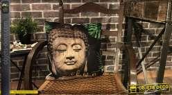 Série de 2 coussins décoratifs couleur nature, inspiration Bouddha, 45 x 45 cm