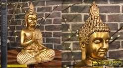 Statuette de Bouddha en résine finition doré brillant et mate, position lotus
