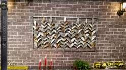 Grand cadre de décoration murale en métal, roseaux figés finitions pastelles brillantes avec relief important, 134cm