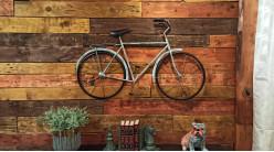 Grand vélo mural en métal, finition bleu ciel avec reflets argentés, déco vintage, 99cm