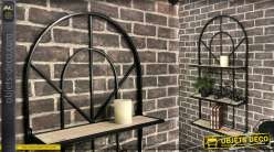 Etagère en forme d'arcade, bois naturel clair et métal noir, 3 niveaux, 110cm