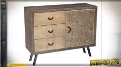 COMMODE MANGUE MDF 110X40X89 42 CERCLES NOIR