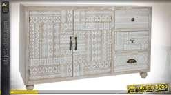 COMMODE BOIS 110X36X68 AFRICAIN NATUREL MARRON
