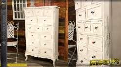 Commode haute en bois, finition blanc usé, 14 tiroirs et poignées multicolores