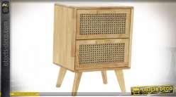 TABLE DE CHEVET CAOUTCHOUC ROTIN 40X30X54 CALANDRE