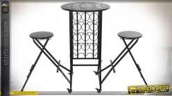 TABLE SET 2 MÉTAL 163X55X103 PORTE-BOUTEILLES NOIR