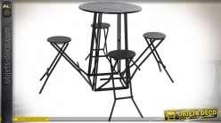 TABLE SET 4 MÉTAL 185X185X103 NOIR