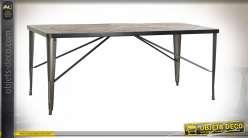 TABLE BOIS RECYCLE MÉTAL 181,5X82,5X75