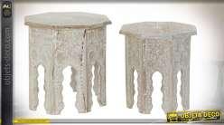 TABLE AUXILIAIRE SET 2 MANGUE MDF 54X54X53