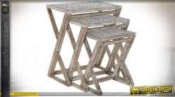 TABLE AUXILIAIRE SET 3 MANGUE MDF 61X38X71 NATUREL